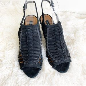ZARA Woman Black Suede Peep Toe Caged Heels